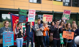 Teachers on strike outside Forest Hill school in Lewisham, south London