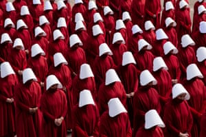 The Hulu series The Handmaid's Tale is filmed on the National Mall in Washington DC on 15 February 2019.