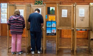 Voting in local elections at polling station in Haringey, London.