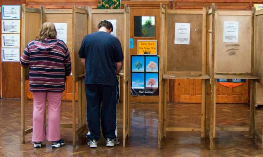 Voters at booths