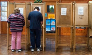 People voting at a polling station