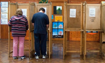 Voting in local elections at polling station