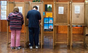 Polling booths.