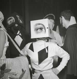 """A partygoer wearing a Cubist headdress, from the 1949 article titled """"Philadelphia's First Beaux Arts Ball"""""""
