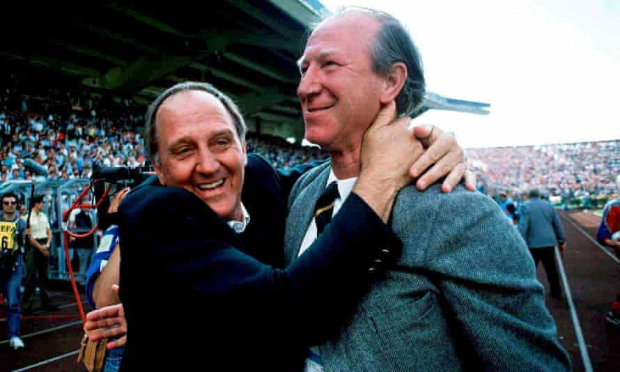 Jack Charlton, right, and assistant manager Maurice Setters celebrate after Republic of Ireland's 1-0 defeat of England at Euro 88.