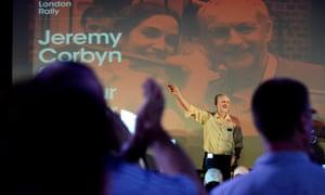 Jeremy Corbyn speaks on stage in Camden, north London.
