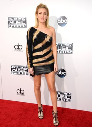 <strong>Off kilter</strong> Ellie Goulding in a one-shouldered mini-dress.