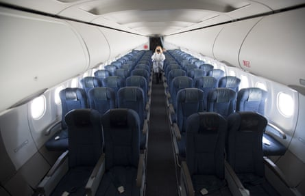 Inside an empty plane that had just landed in Vancouver, Canada in June 2020.