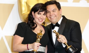 'There's not one award I won alone' … Kristen Anderson-Lopez and Robert Lopez at the Grammys.