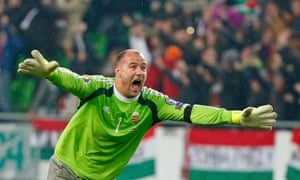 Hungary's goalkeeper Gabor Kiraly after Hungary's second goal.