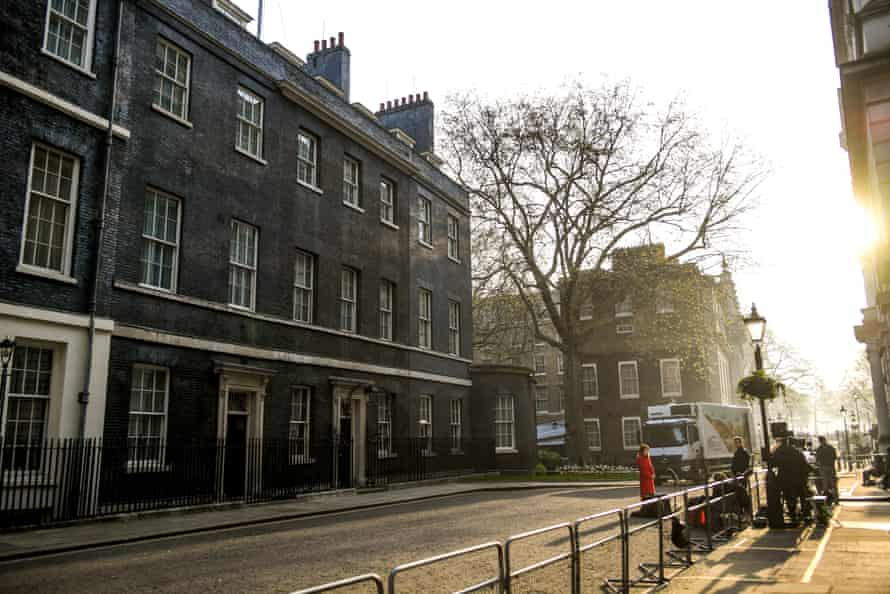 Media wait outside 10 Downing Street, 9 April.