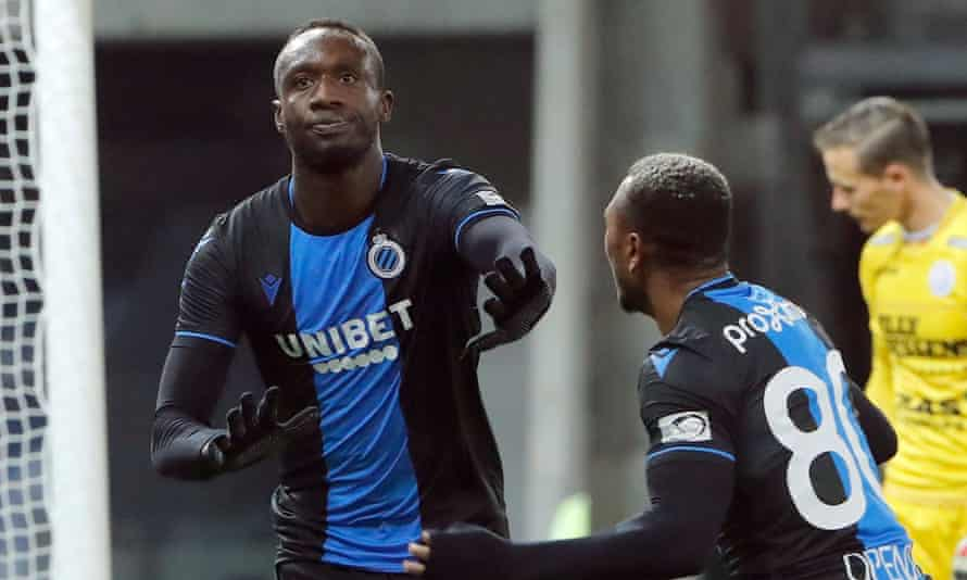 Mbaye Diagne cools down celebrations after a goal against Zulte Waregem, a week before his final appearance for Club Brugge in November.