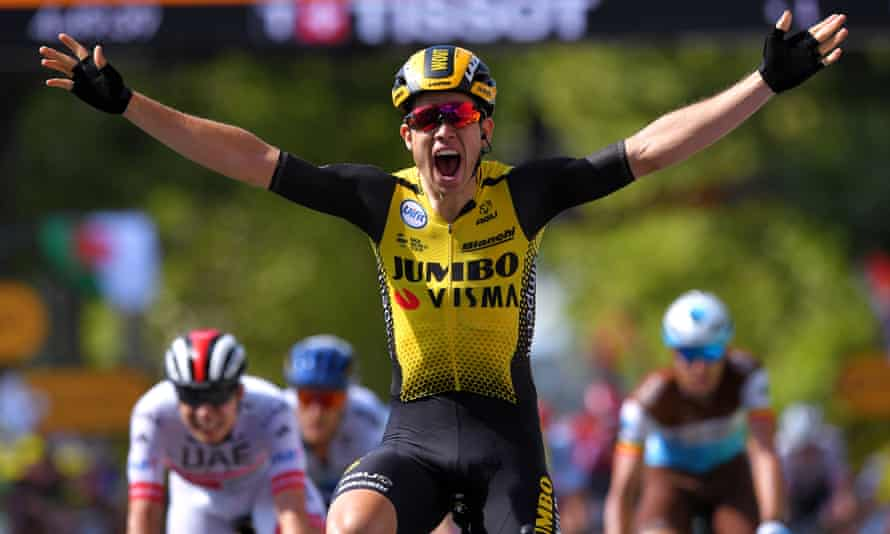 Wout van Aert celebrates his stage win on what could prove a pivotal stage in the race for the yellow jersey