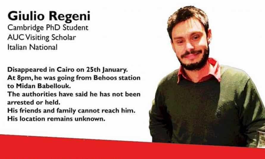 The online ad to help find Giulio Regeni