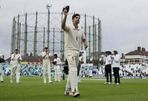 Alastair Cook raises his cap as he walks off at the Oval.