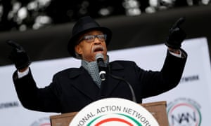 The Rev Al Sharpton speaks during the National Action Network's 'We Shall Not Be Moved' march in Washington DC on 14 January.