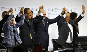 From right: French President Francois Hollande, president of the COP21 Laurent Fabius, UN secretary general Ban Ki-moon and UN climate chief second right, United Nations climate chief Christiana Figueres celebrate in Le Bourget, Paris after 200 governments adopted a global agreement cut carbon emissions to below 2C.