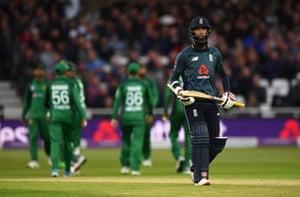 Moeen reacts after being dismissed for a golden duck.
