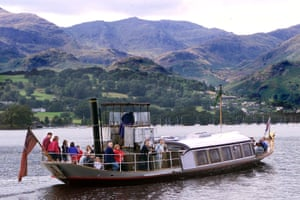 The steam yacht Gondola on Coniston Water in the Lake District.