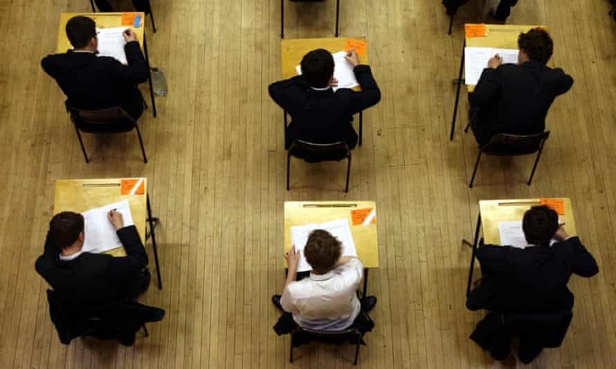 Pupils sitting an A-level exam.