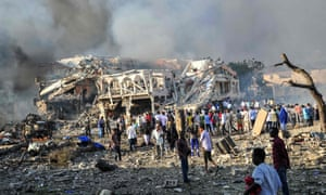 The aftermath of an attack carried out by al-Shabaab  Mogadishu.