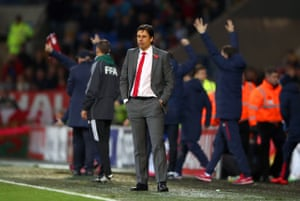Chris Coleman looks dejected at the final whistle.