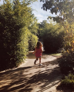 Sunshine and freedomThe view of my two year old is always the same - running off down her own path, an explorer of he world. (Unless she wants food; then she's running back!) Photograph: Laziz/GuardianWitness
