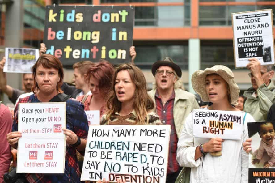 Hundreds of protesters hold a rally outside the Department of Immigration offices in Sydney in February 2016 calling on the government not to send children of asylum seekers back to Nauru following a high court decision.