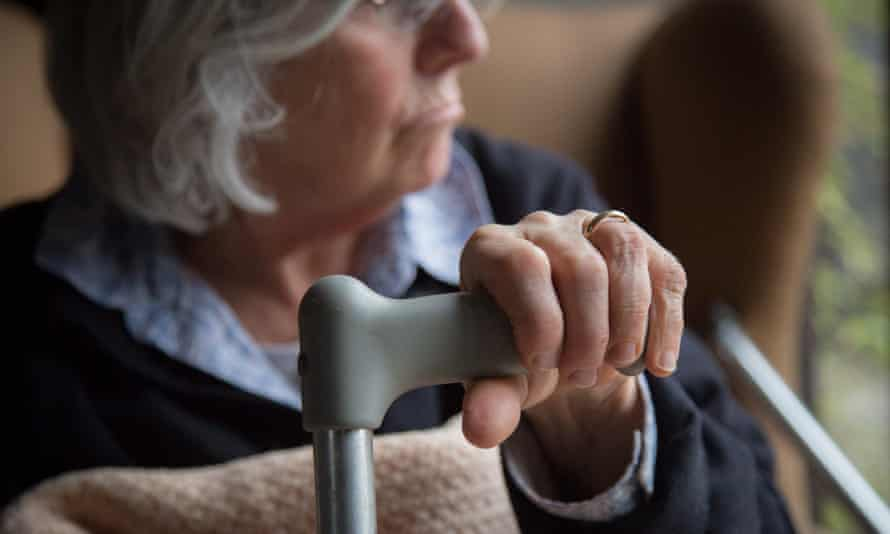 An old person in a care home