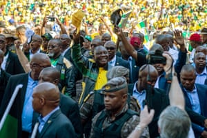 Johannesburg, South Africa: The president and ANC leader, Cyril Ramaphosa, arrives at Ellis Park stadium during his party's rally final before the general election on Wednesday