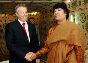 PM Tony Blair with Libyan leader Col Muammar Gaddafi at his desert base outside Sirte, south of Tripoli, in May 2007.