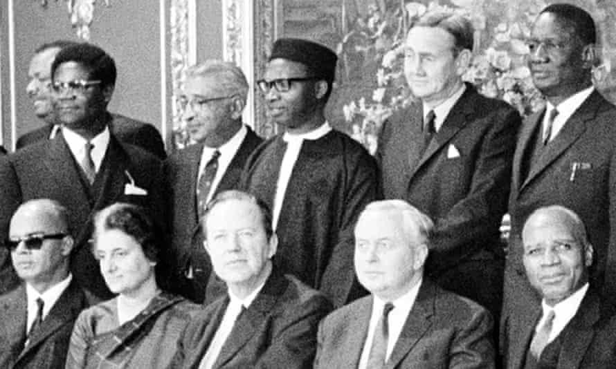 Sir Dawda Jawara, rear centre, with other delegates to the Commonwealth prime ministers' conference at Marlborough House, London, 1969.