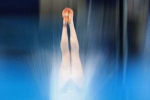 Andrea Spendolini Sirieix of Britain in action in the women's 10m platform preliminary round.