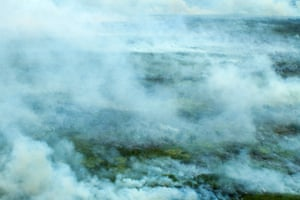 Smoke rises from a forest fire in this aerial view of haze pollution in central Kalimantan, Indonesia.