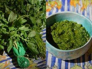 Rachel Roddy's salsa verde green sauce.