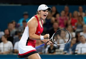 Barty is just the second Australian woman to be ranked world No 1, after Goolagong Cawley.Barty reacts after winning her first round match against Aleksandra Krunic of Serbia at the Brisbane International Tennis Tournament in 2017.