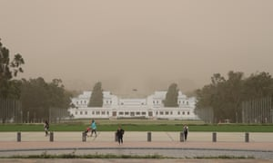 The dust storm passed over Canberra on Tuesday evening, obscuring the view of Mount Ainslie from Parliament House. People in Sydney and Canberra woke to a pink hue on Wednesday.