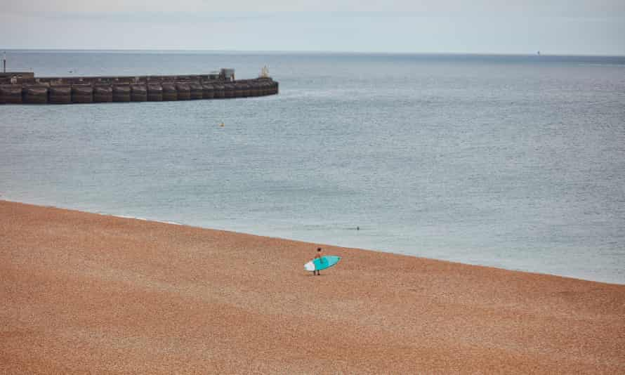 Lone surfer making the most of it in Brighton