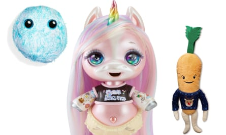 2018 Christmas toys: a Scruff-A-Luv, a Poopsie Slime Surprise! unicorn and Kevin the Carrot