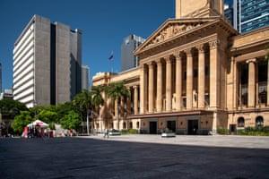 Deserted King George Square, Brisbane.