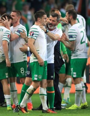 Republic of Ireland's Robbie Brady is congratulated by assistant manager Roy Keane