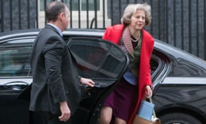 Theresa May arrives for a cabinet meeting at Downing Street.