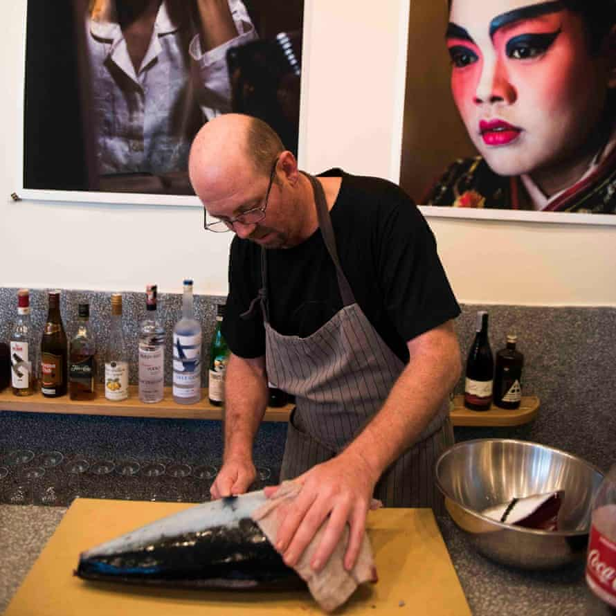 Hamachi being prepared at Jua restaurant.