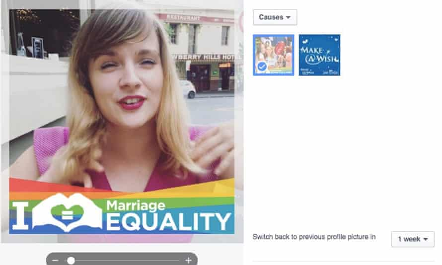 The marriage equality custom frame is added to a profile picture