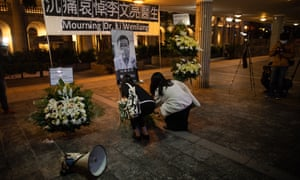 People pay their respect to Chinese doctor and whistleblower Li Wenliang in Hong Kong.