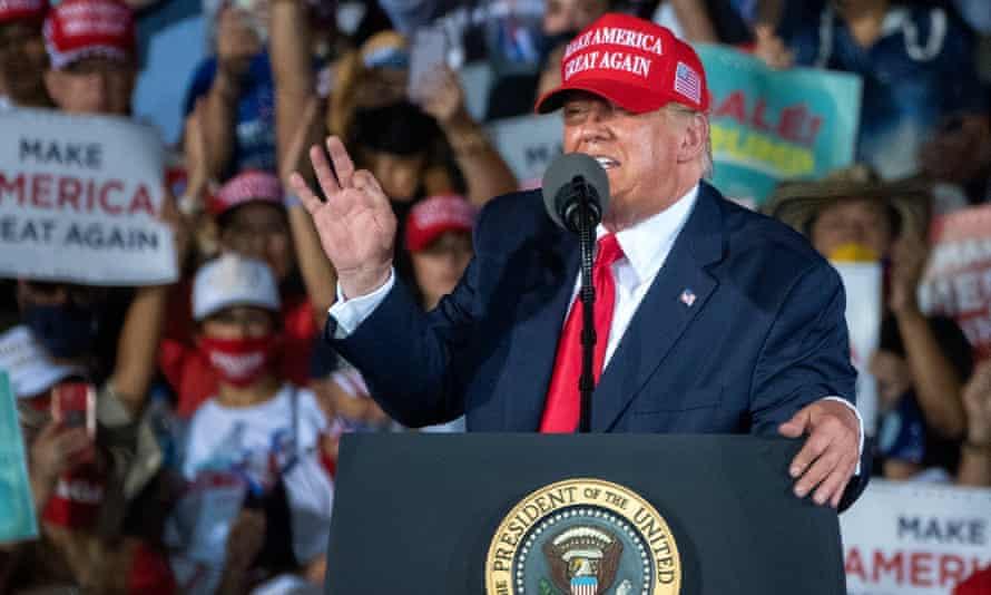 Donald Trump at a rally at the Opa-Locka International Airport in Florida, 1 November 2020.