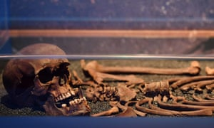 A skeleton unearthed during the Crossrail excavations at Liverpool Street on display at the Museum of London Docklands.