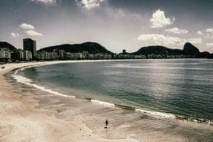 Copacabana beach, empty during the coronavirus outbreak.