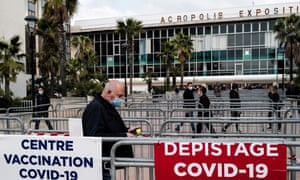 People arriving at a Covid-19 vaccination centre in Nice, during the second lockdown weekend implemented to curb the spread.
