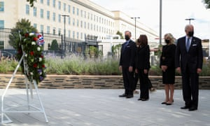 U.S. President Joe Biden, first lady Jill Biden, Vice President Kamala Harris ,and second gentleman Doug Emhoff, at the Pentagon on September 11, 2021.